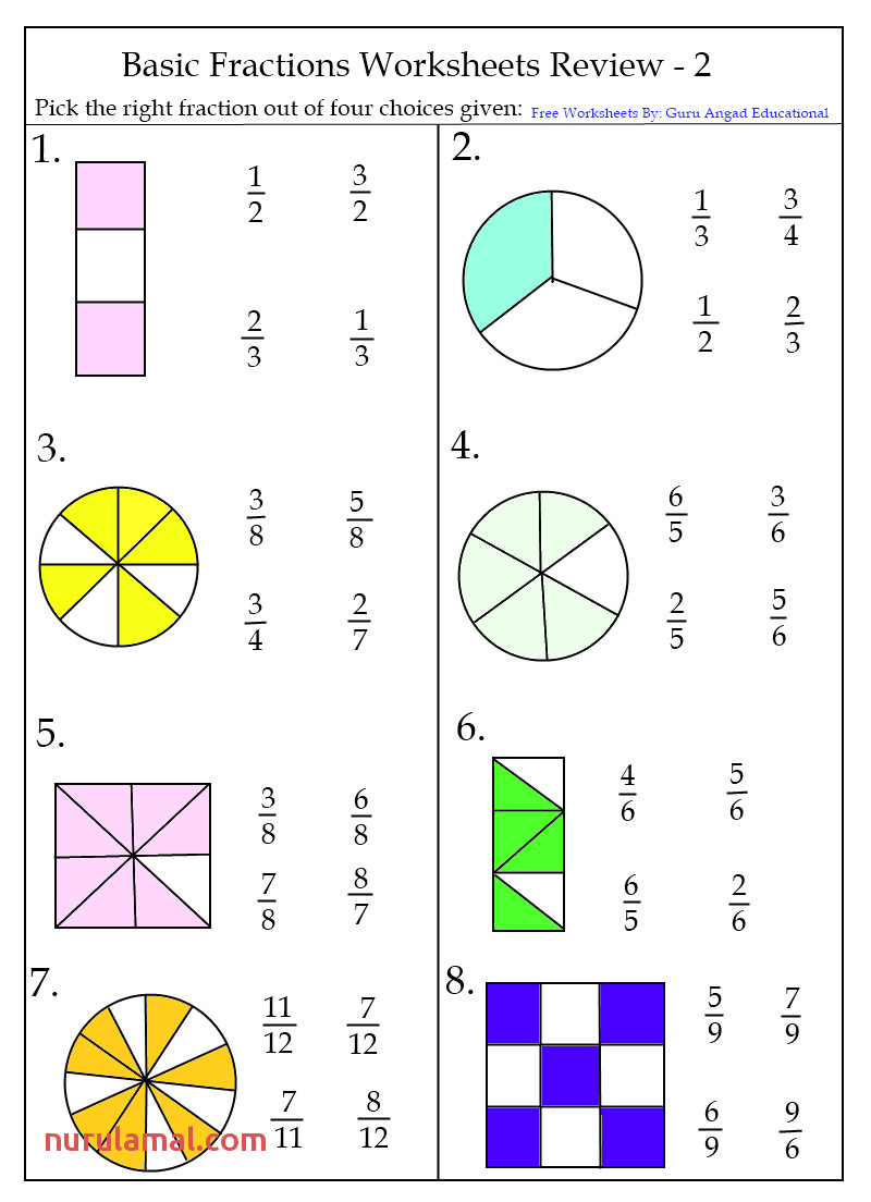 Basic Fractions Worksheets Review 2