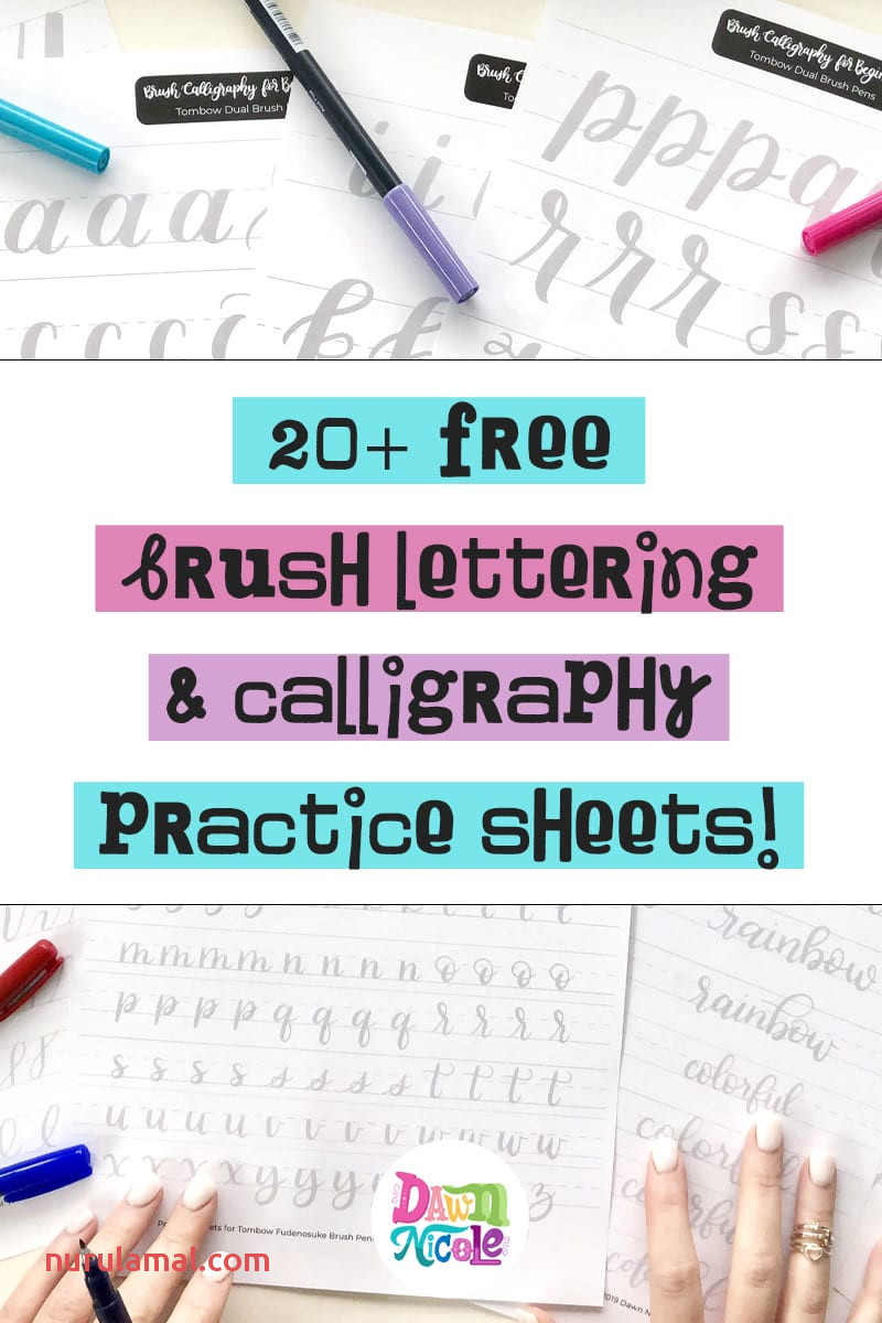 20 Free Brush Lettering Practice Sheets