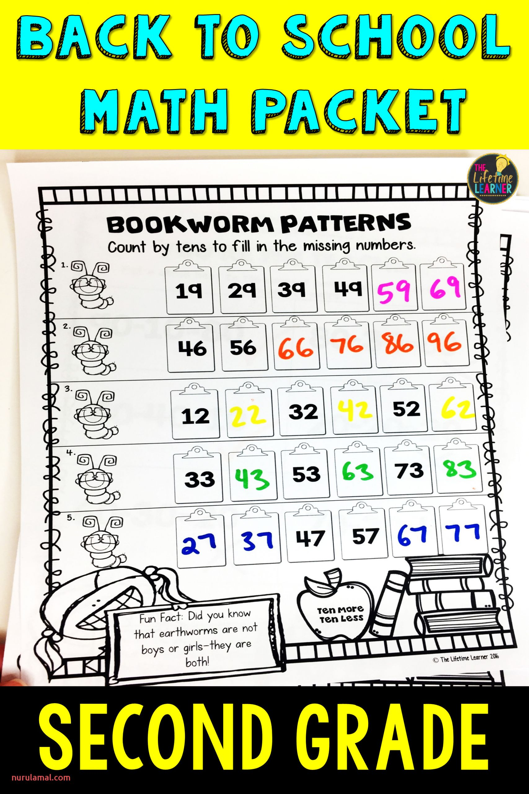 2nd Grade Back to School Math Packet