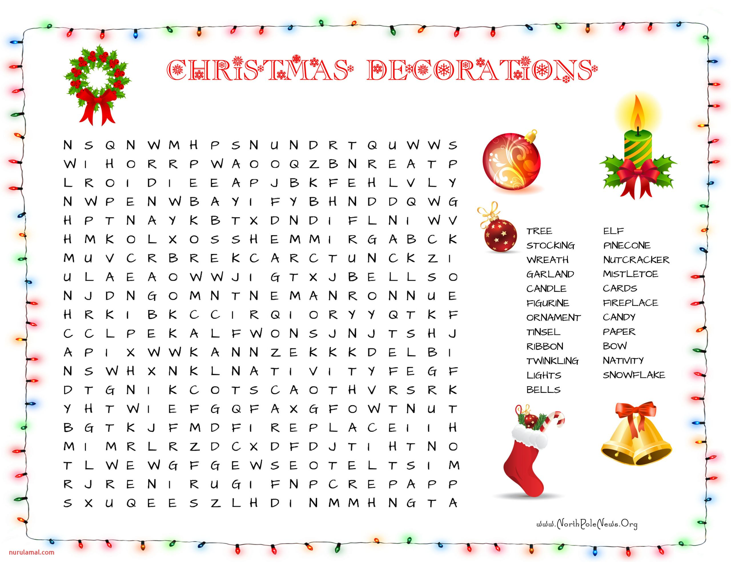 christmas decorations word search 2015