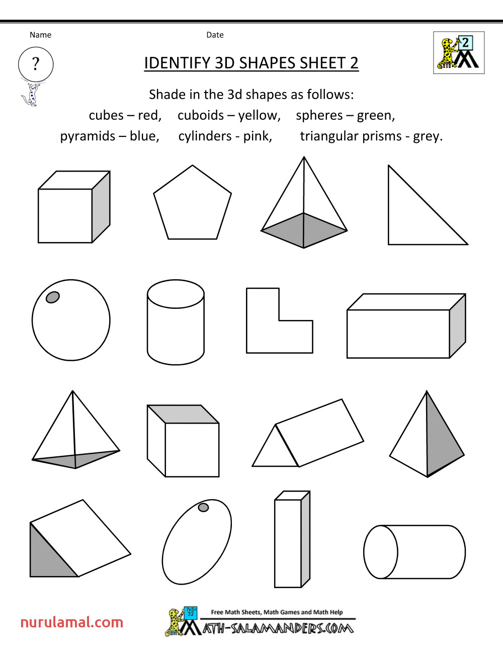 3d Shapes Kindergarten Worksheets & Kindergarten Math 3d