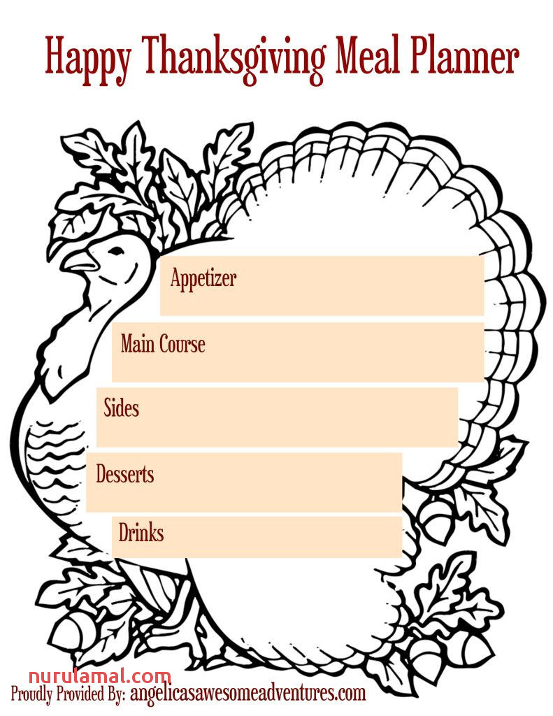 5 Printable Thanksgiving Activities and Planners Meal