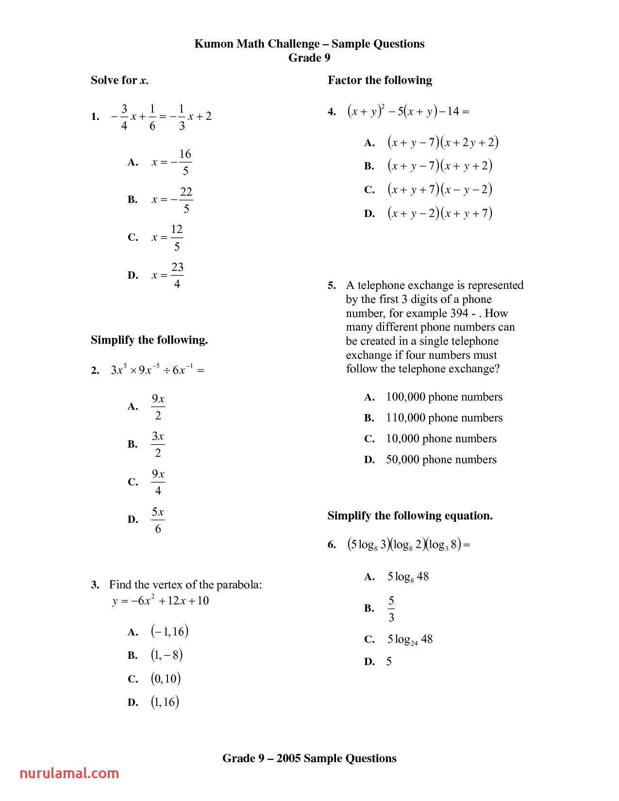 6 Kumon Level E Math Worksheets