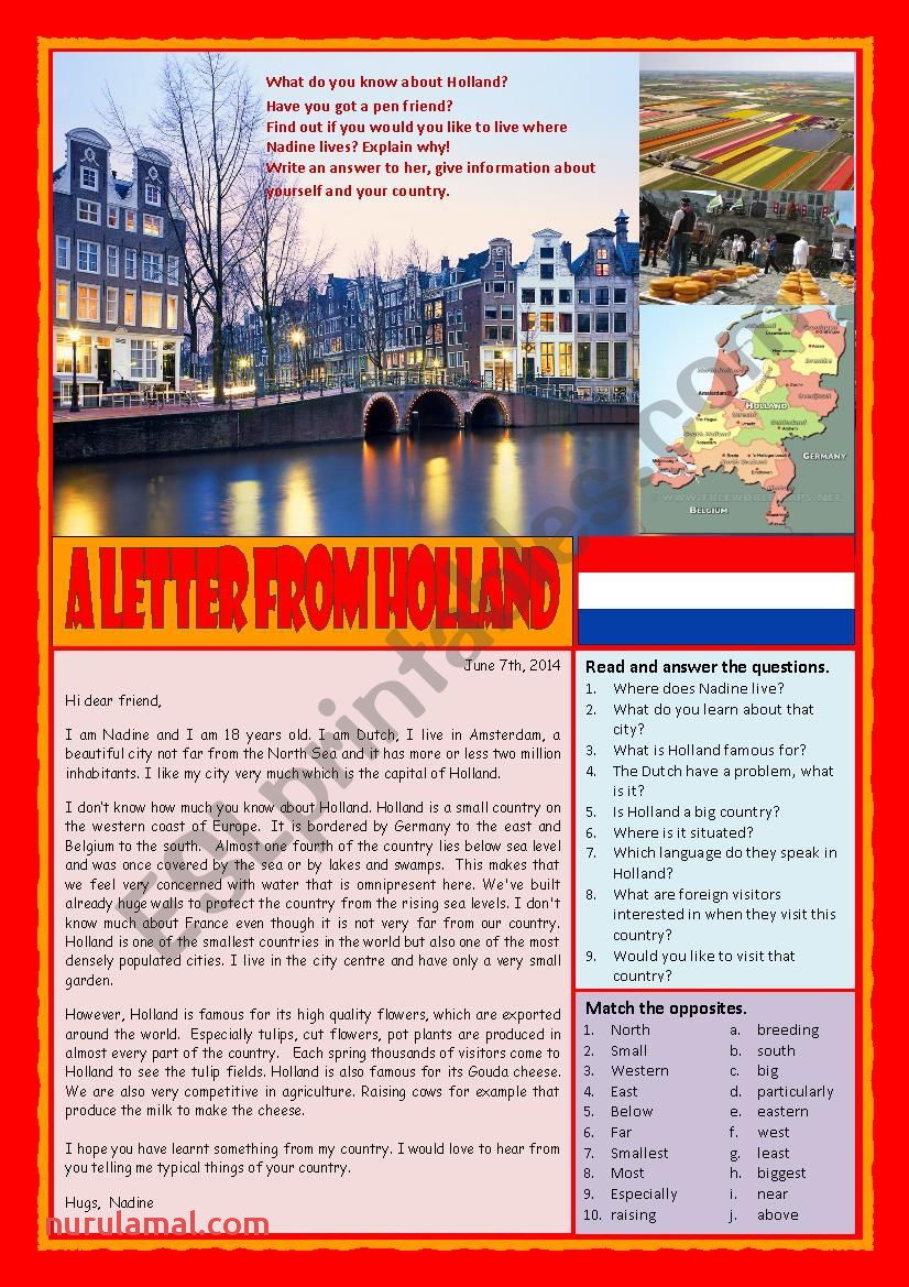 1 A letter from Holland Reading answering questions and writing a letter