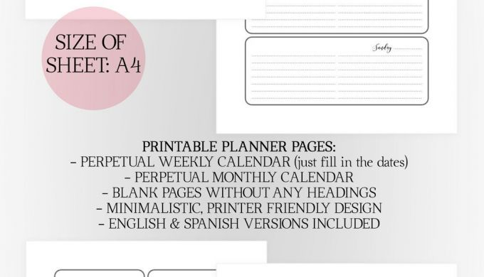 A4 Printable Planner Set the Puck Planner Black and White