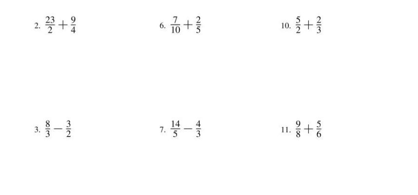 Adding and Subtracting Fractions No Mixed Fractions A