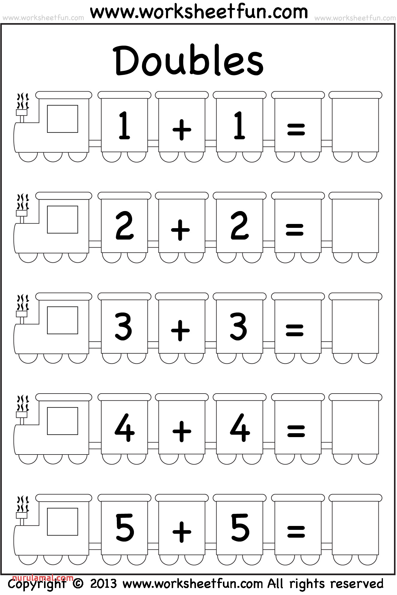 Addition Doubles – 1 Worksheet Free Printable Worksheets
