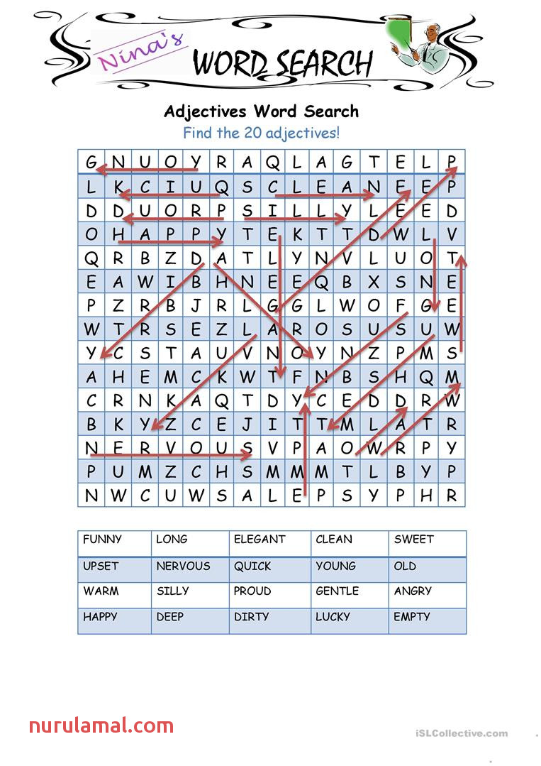 Adjectives Word Search English Esl Worksheets
