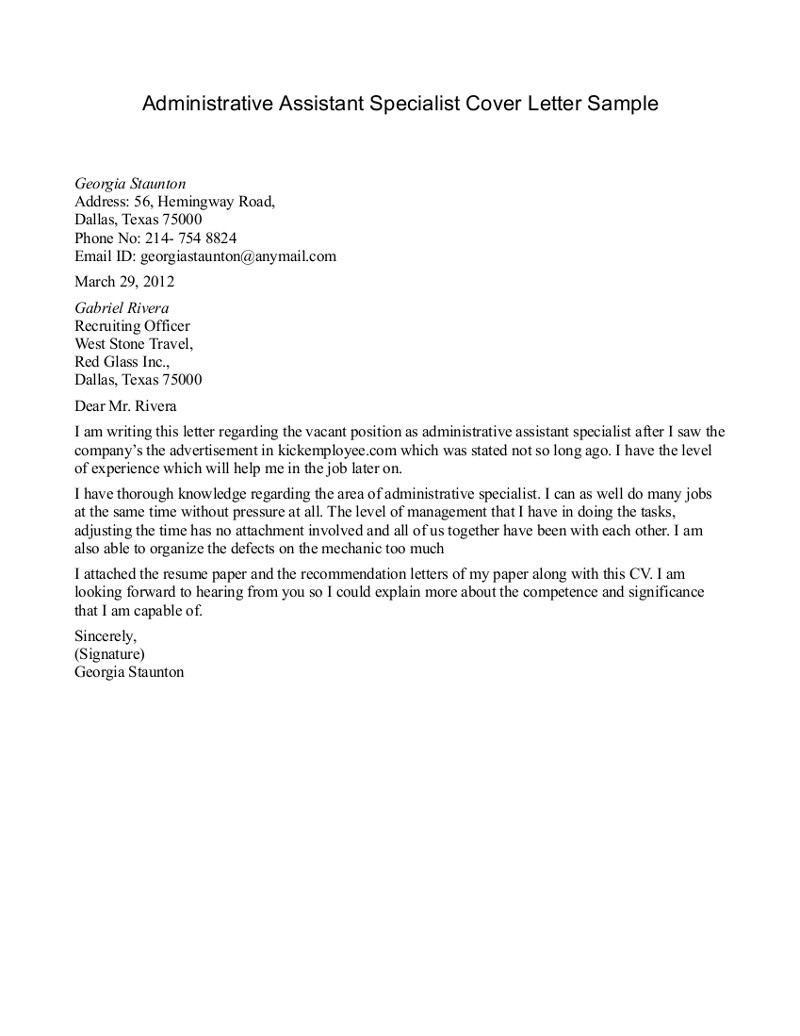 Administrative Assistant Cover Letter Help Entry Level