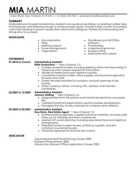 Administrative Assistant Resume Free Job Resume Examples