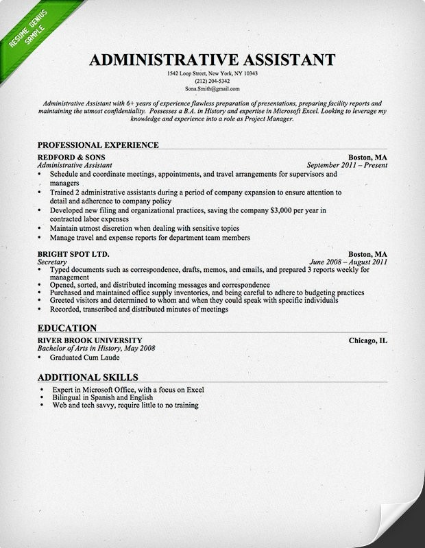 Administrative Assistant Resume Resume Cv
