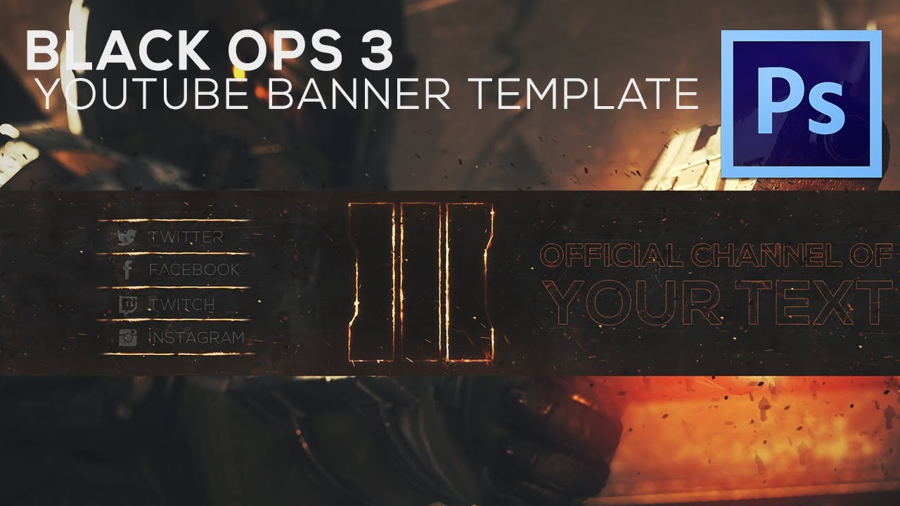 Amazing Free Black Ops Youtube Banner Template How To