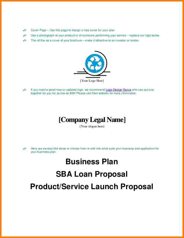 An Example Of A Business Plan Cover Page