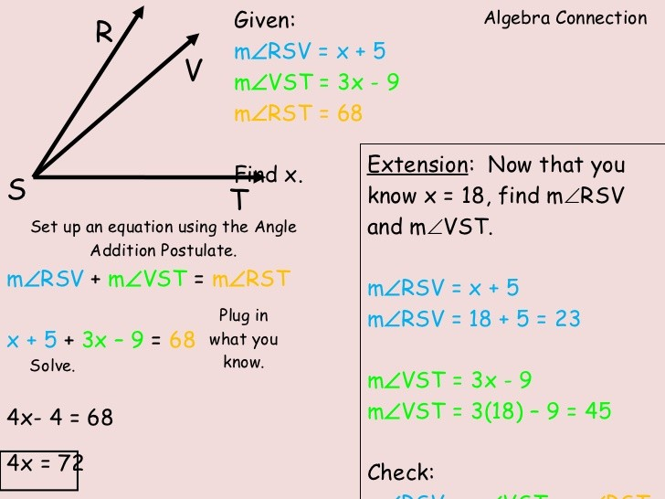Angle Addition Postulate Worksheet With Variables