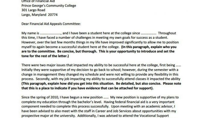 Appeal Sample Letter For Financial Aid Gse Grants And