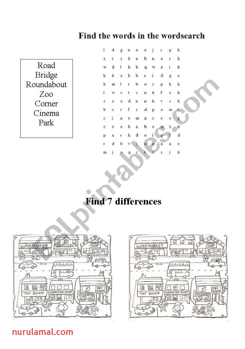 Around town Wordsearch and Find the Differences Esl