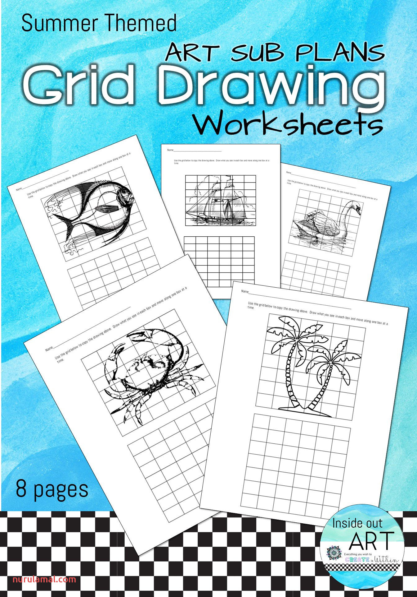 Art Sub Plan Grid Drawing Package 3 Summer theme