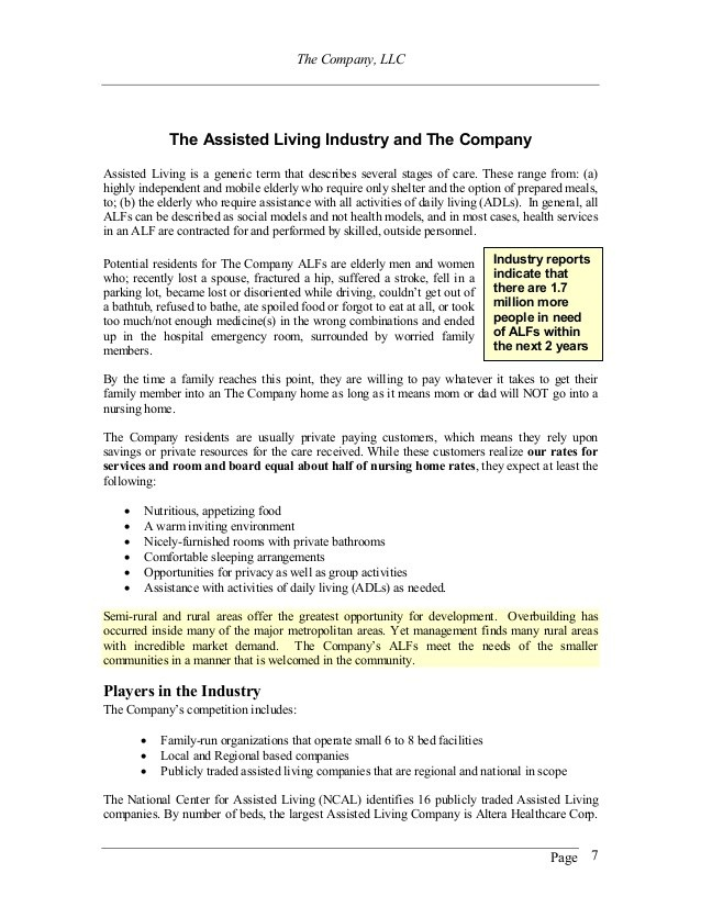 Assisted Living Business Plan Sample Templates Resume