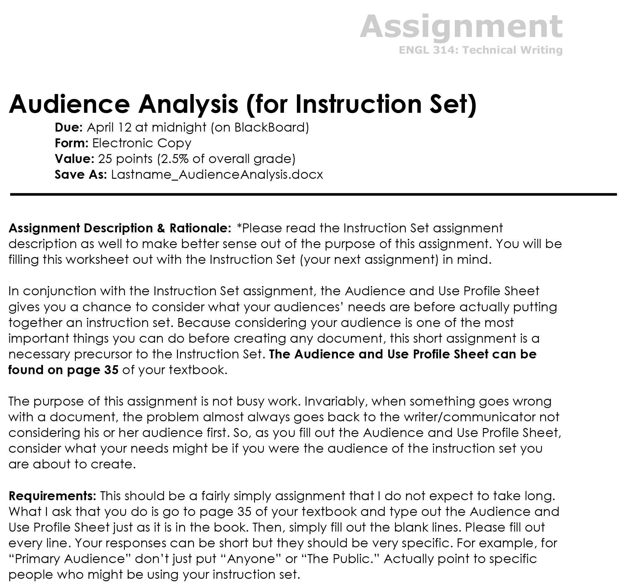 Audience And Use Profile Sheet The Visual Communication