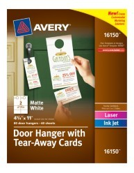 Avery Door Hanger With Tear Away Cards Matte White