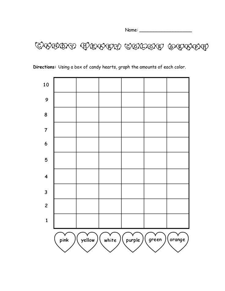 Bar Graph Template Valentines Day Candy Heart Color