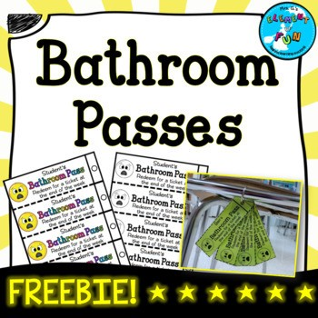 Bathroom Passes Template Freebie By Element Of Fun Tpt