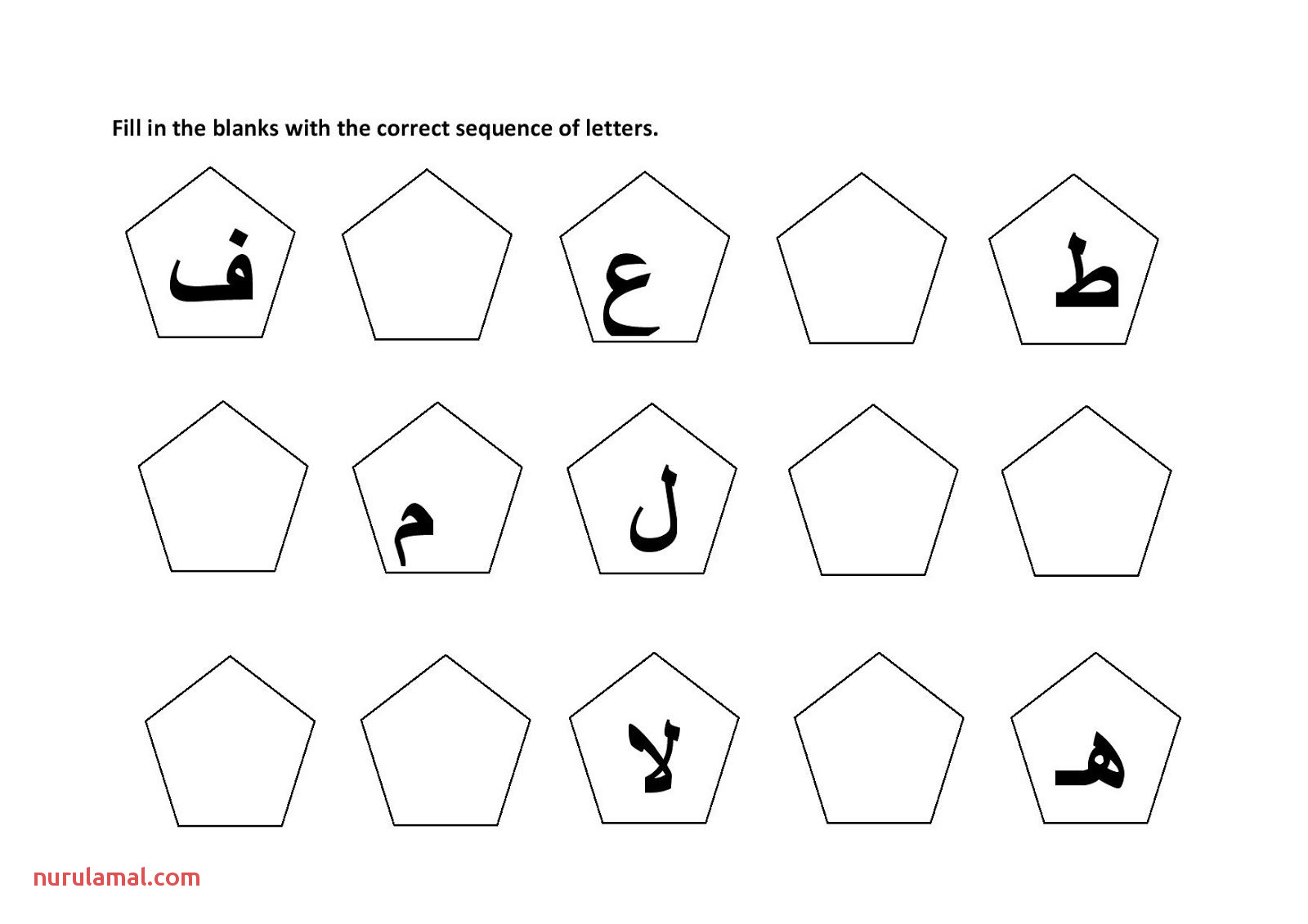 arabic alphabet worksheet for kids