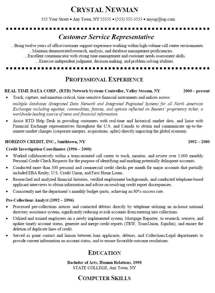 Best Ideas About Customer Service Resume On Pinterest