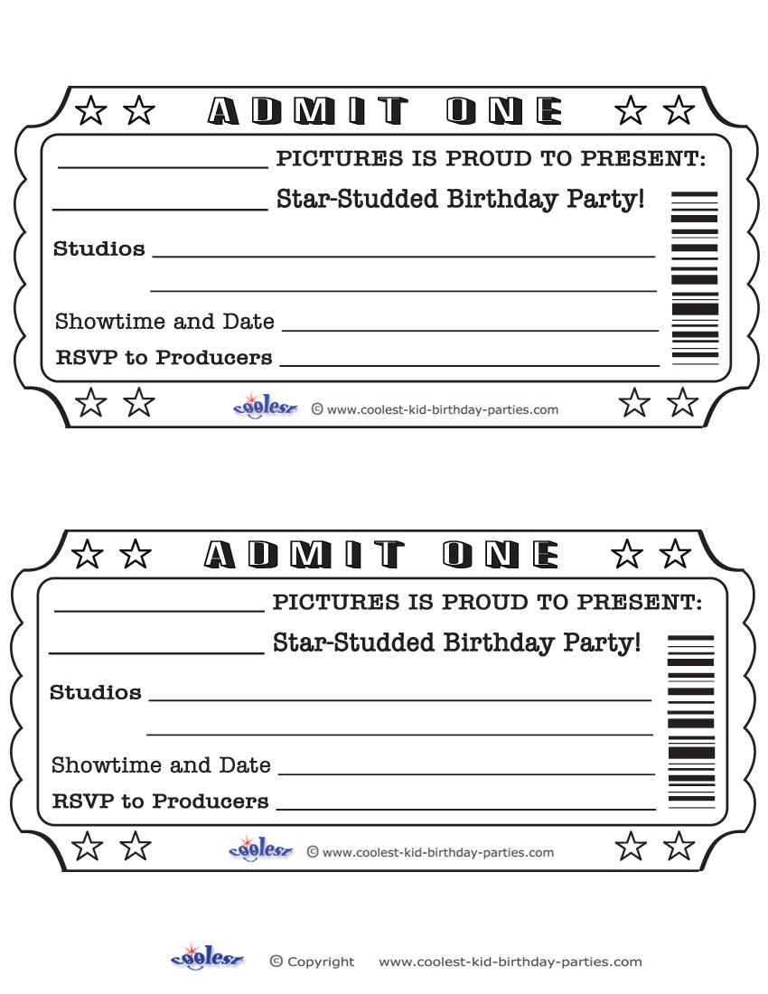 Best Images Of Free Printable Admit One Invitations