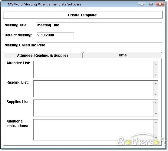 Ms Word Agenda Templates