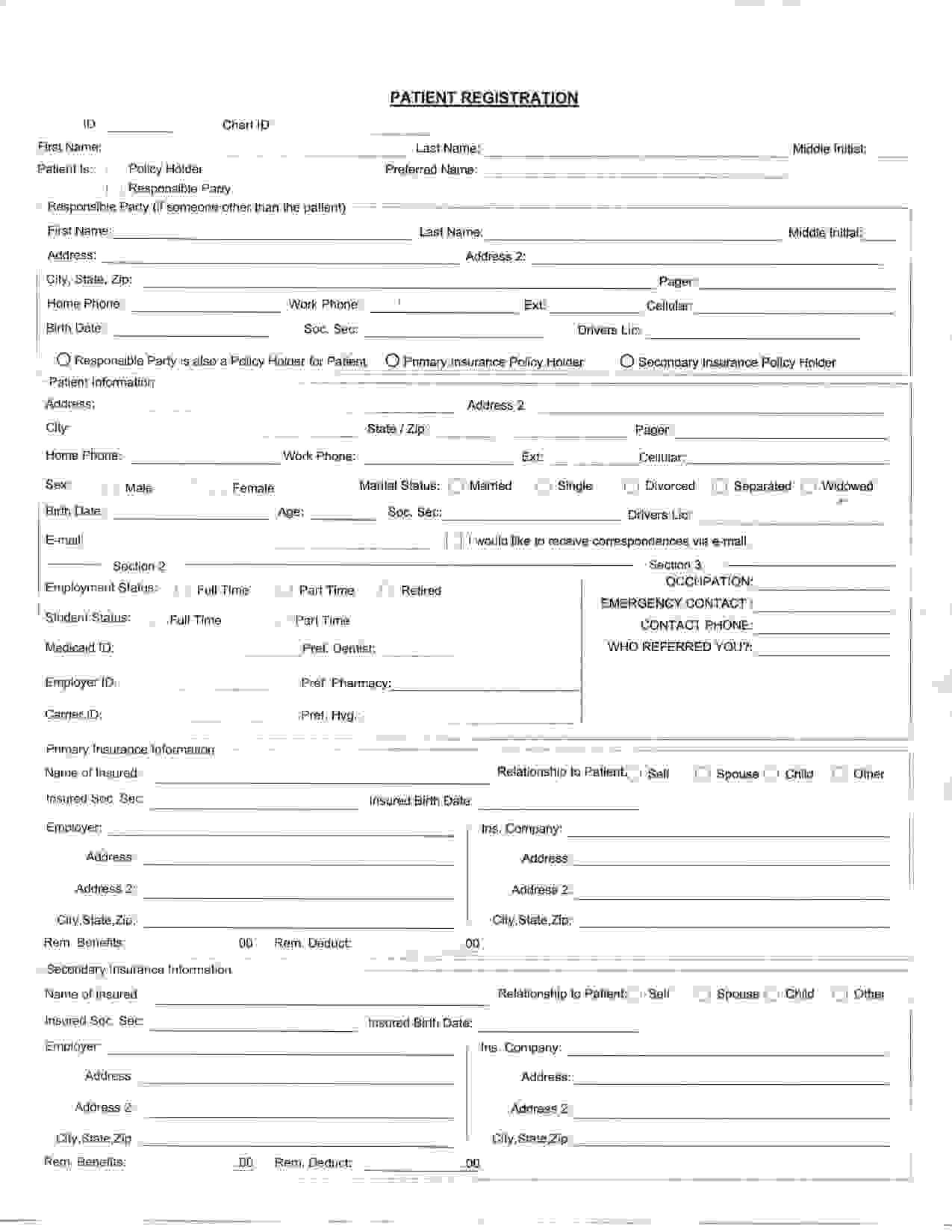 Medical Office Registration Form Templates