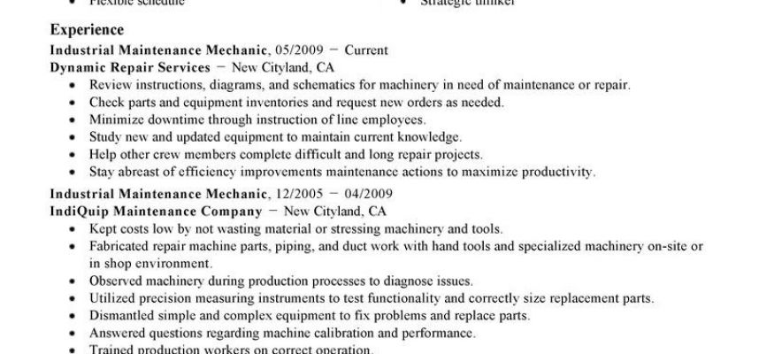 Best Industrial Maintenance Mechanic Resume Example