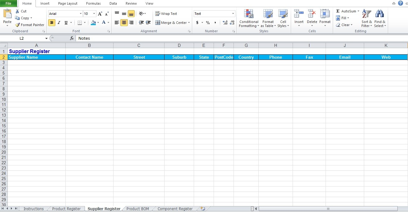Bill Of Materials Template Free Excel Tmp