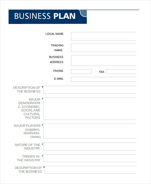 Fill In Business Plan Template