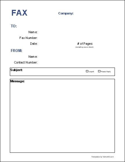 Blank Fax Cover Page Free Fax Cover Sheet Template