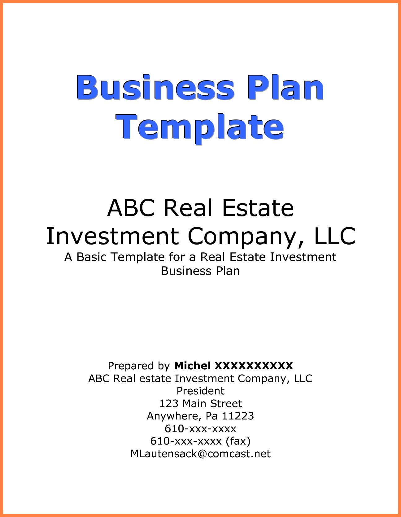 Business Plan Cover Page Example Business Form Templates