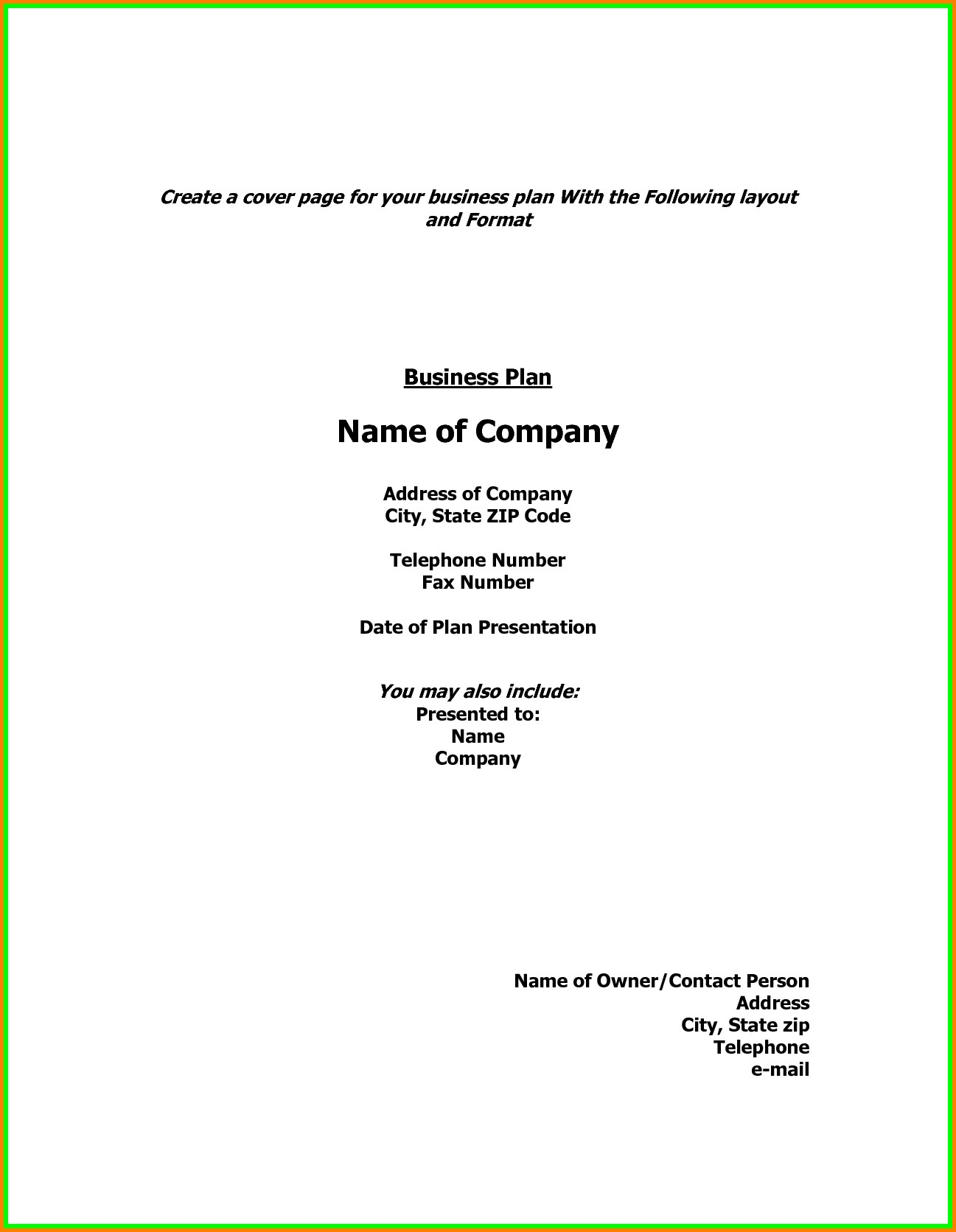 Business Plan Cover Page Sample Business Form Templates