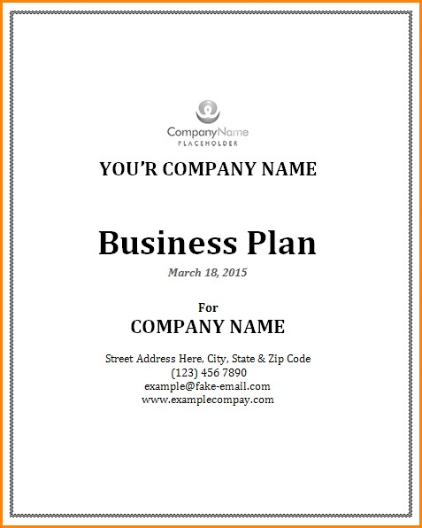 Business Plan Cover Page Template Business Form Templates