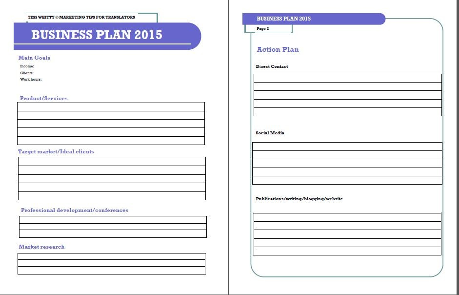 Business Plan Template Free Fill In The Blank Business