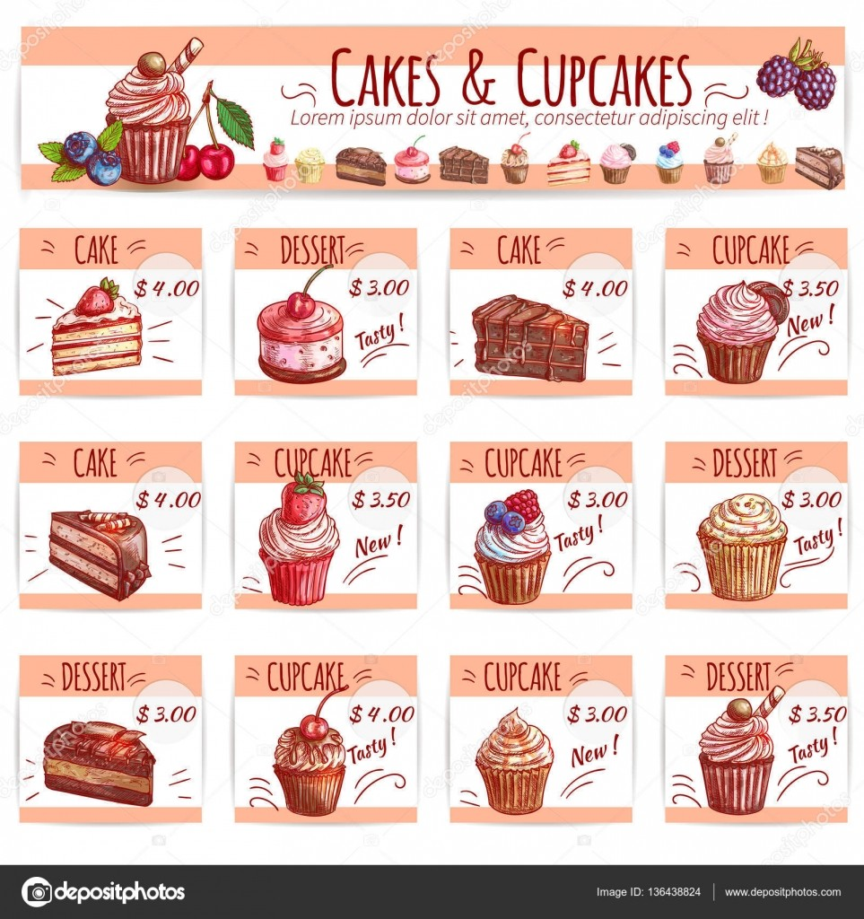 Cake Menu Template For Bakery Pastry Shop Design Stock