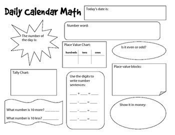 Calendar Math Student Templates And Worksheets By