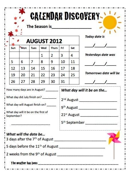 Calendars Monthly Worksheets End Of The Year