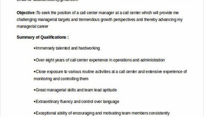 17+ Call Center Manager Resume