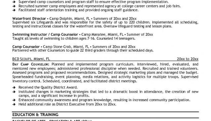 Camp Counselor Resume Best Resume Gallery