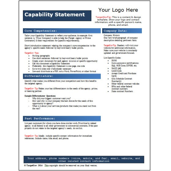 Capability Statement Editable Template Blue Targetgov