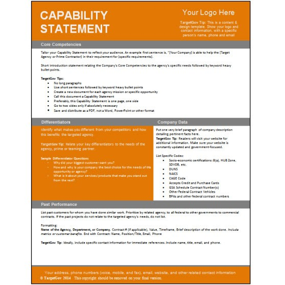 Capability Statement Editable Template Targetgov
