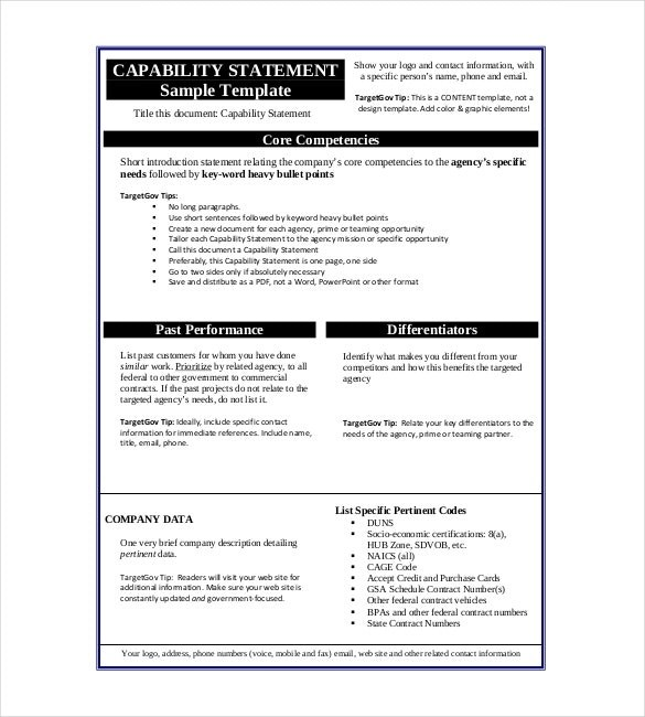Capability Statement Template Word All About Letter Examples