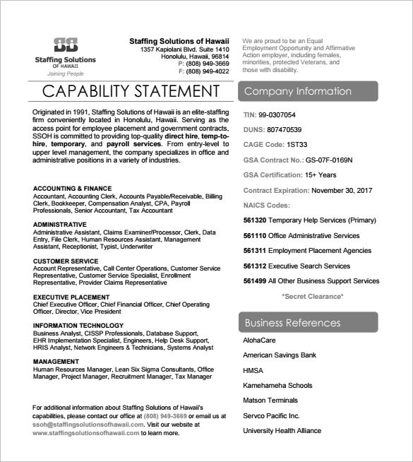 Capability Statement Templates Pdf Word Pages