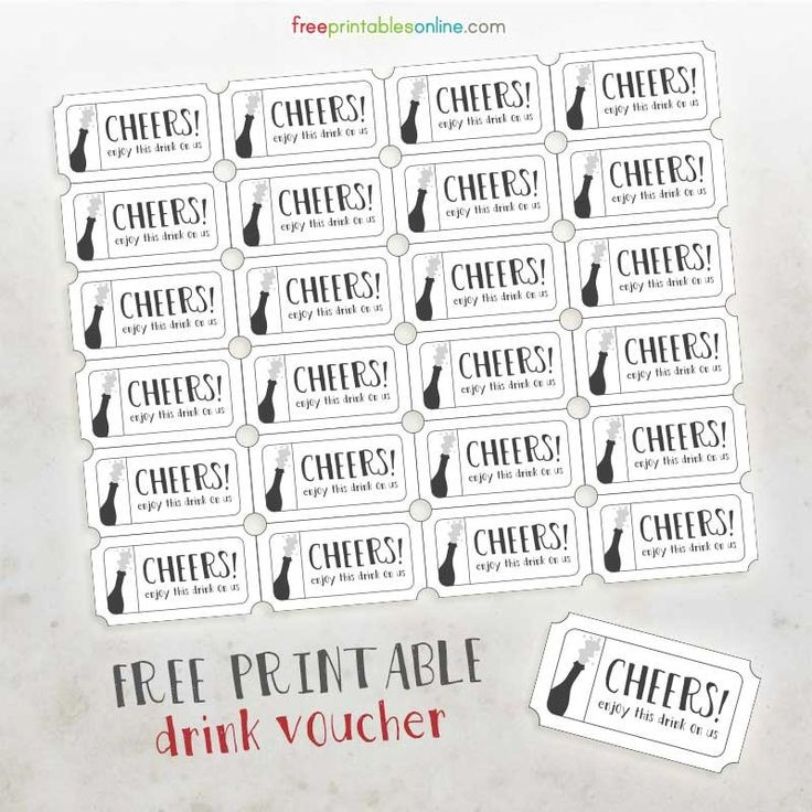 Cheers Free Printable Drink Vouchers Free Printables