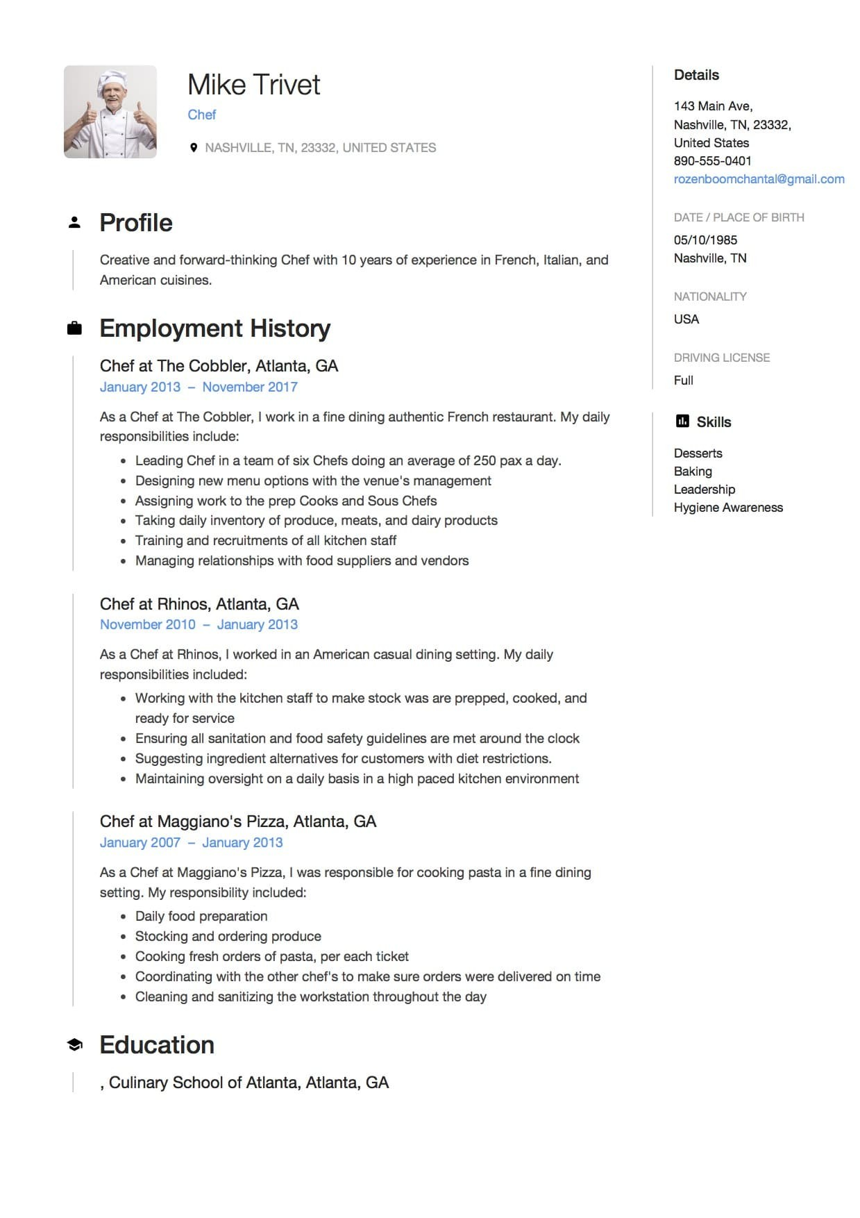 Chef Resume Examples